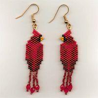 free native american beading patterns | cardinal seed bead earrings these stunning cardinal seed bead earrings