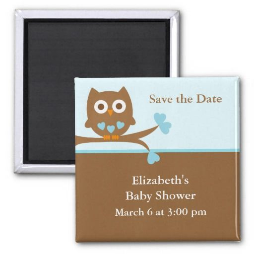 blue owl baby shower save the date magnet save the date magnets owl