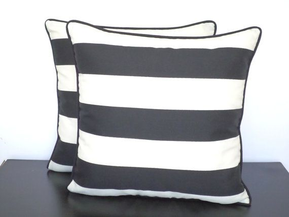Black Outdoor Pillow Cover, Block Striped Throw Pillow 20x20, Black And  Ivory Outdoor Cushion