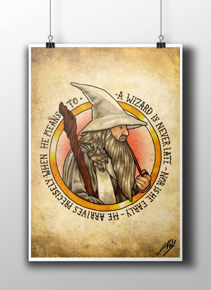 LOTR Gandalf Tattoo Parlor Poster Print by NebulaPrints on Etsy
