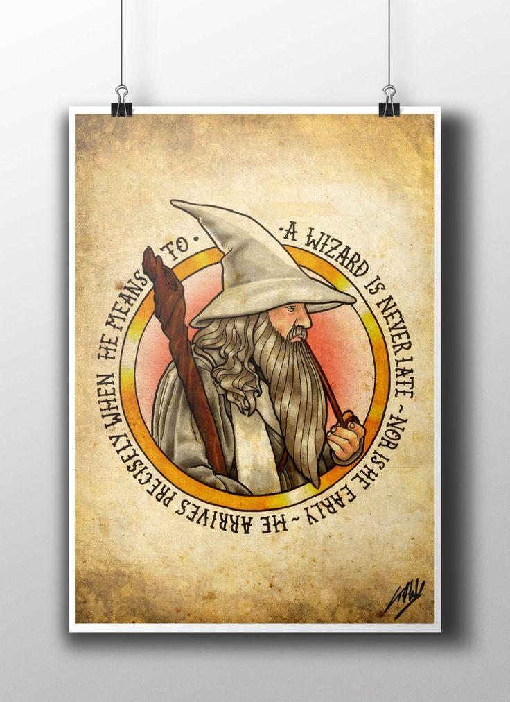 LOTR Gandalf Tattoo Parlor Poster Print by NebulaPrints on Etsy