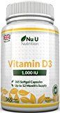 Vitamin D3 365 Softgels (Full Year Supply) 1000IU Vitamin D3 Supplement, High Absorption Cholecalciferol by Nu U Nutrition - https://www.trolleytrends.com/?p=600138