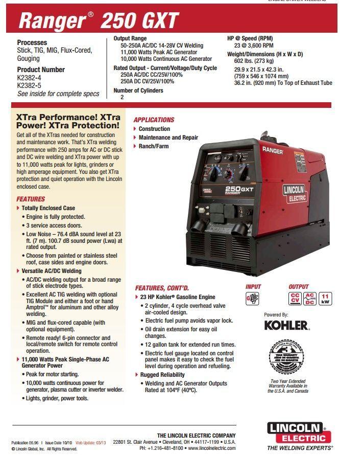 Lincoln Ranger 250 GXT Welder/Generator for sale (K2382-4) - Buy at WeldingSuppliesfromIOC.com, based in Indianapolis, IN