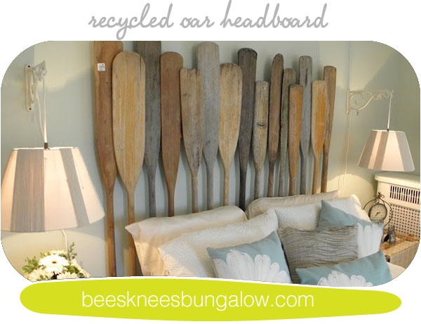 DIY: Recycled oars headboard for that beach house bed! Very cool!