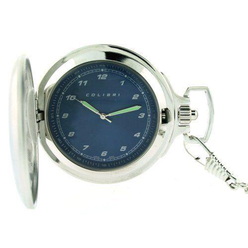Colibri Pocket Watch with Military Time Blue Dial #PWQ096829J Colibri. $26.95. Case Diameter 47mm. Quartz Movement. Silver Tone Hunting Case. pocket Watch Chain Included. Colibri Pocket watch