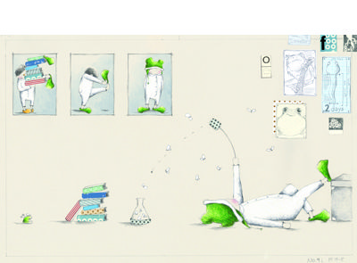 'A Frog' signed limited edition print by Sue de Gennaro, from her picture book 'The Pros and Cons of Being a Frog'. Available from Books Illustrated. http://www.booksillustrated.com.au/bi_prints_indiv.php?id=74&image_id=410