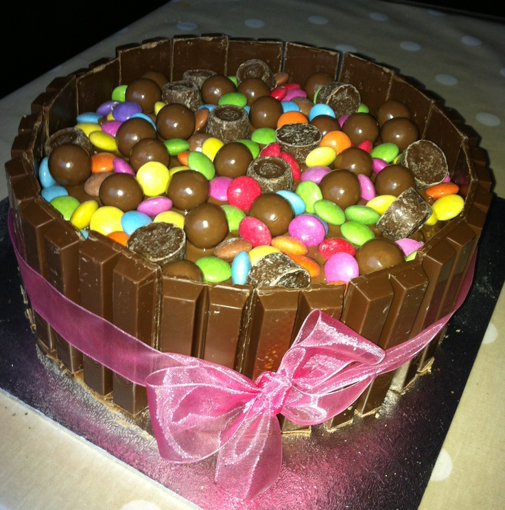 Louisa's birthday cake made with Kit kats, Smarties, Rolos and ...