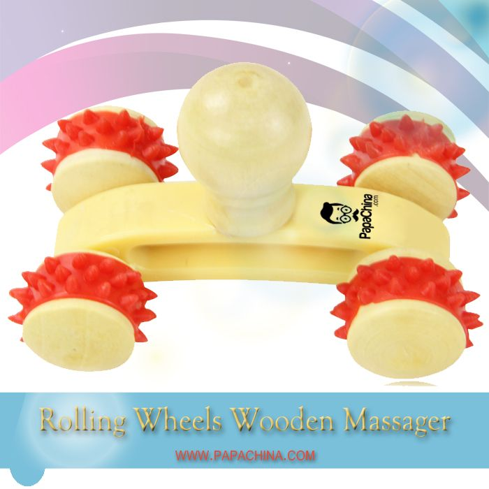 Your company brand on a Rolling Wheels Wooden Massager can lead to repeat business. It is designed with 4 rubber pressure rolling wheels, round top for easy grip and can be used for body massage, improving blood circulation which means your company message will be communicated when used and they will remember who gave it to them.