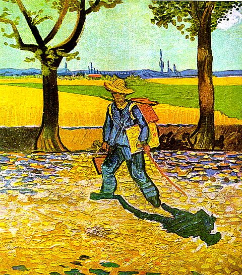 "The Painter on His Way to Work, 1888. Oil on canvas. Artist: Vincent van Gogh. In this painting van Gogh describes himself as ""laden with a box of paints, brushes, and canvas, on the road to Tarascon under a blistering sun."" The painting was destroyed by fire in World War II. Artist Francis Bacon reinterpreted this painting and painted several versions of it in the 1950s."