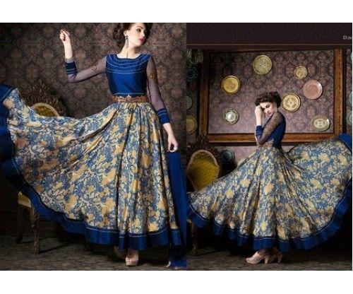 NavyBlue Chiffon Printed Party Wear Salwar Suit @Looksgud.in #NavyBlue #Chiffon #Salwar Suit