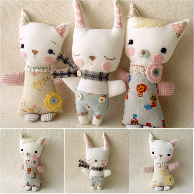 Cute simple cat & bunny dolls.