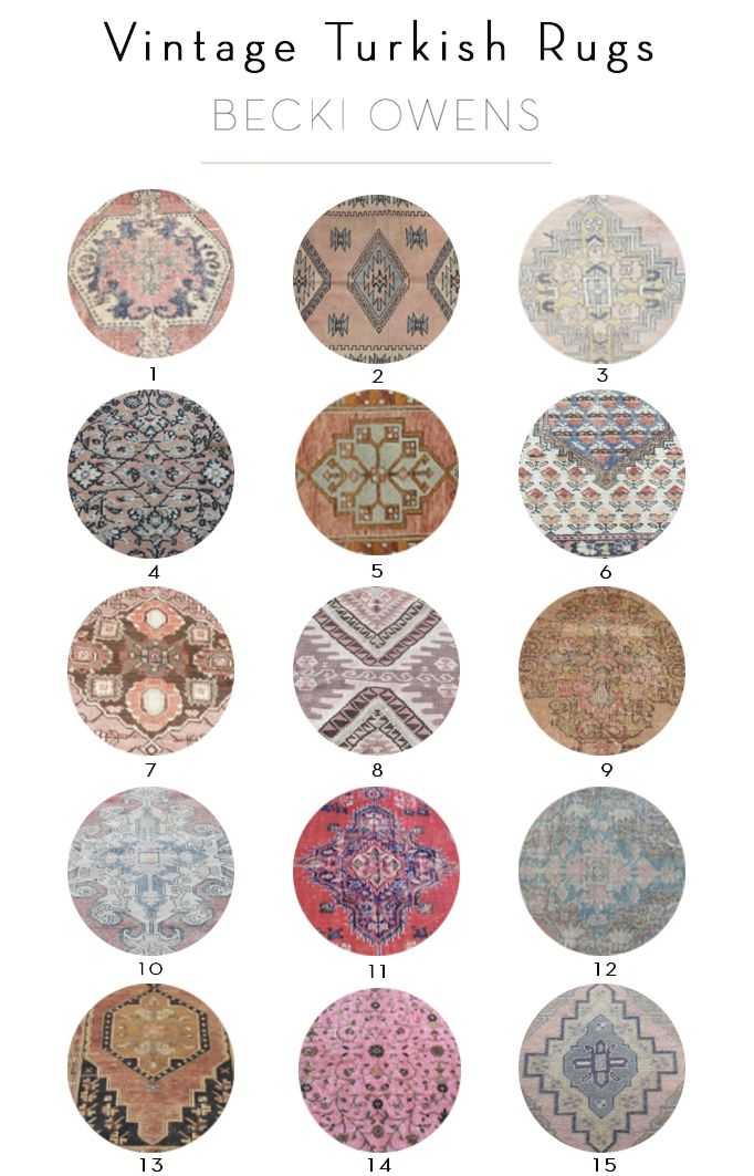 BECKI OWENS- 15 Affordable Vintage Turkish Rugs. Go to the blog for gorgeous rugs + sources.