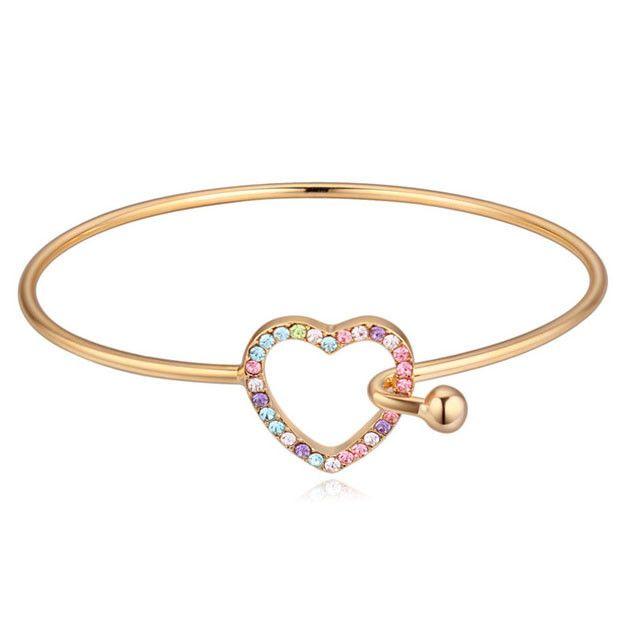 Сердце Серебряный браслет и Браслет, красочный Горный Хрусталь Браслеты, 18 К позолоченный браслет, самый продаваемый продукт-Браслеты-ID товара::60267048576-russian.alibaba.com