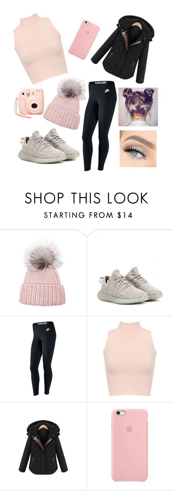 """""""Pink in Winter🍉🌨"""" by kylieirwin11 ❤ liked on Polyvore featuring Eugenia Kim, adidas Originals, NIKE, WearAll and Nasty Gal"""
