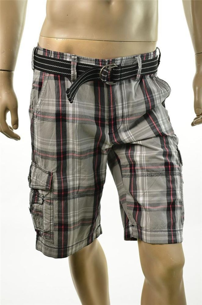 Mens Plaid Cargo Shorts - The Else