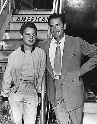Sean Flynn with Errol Flynn.  Sean disappeared in Cambodia while covering the war