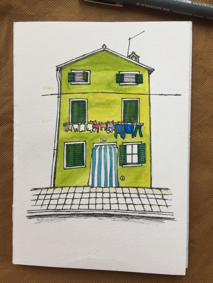 No.6 Green house with clothes in Burano Italy