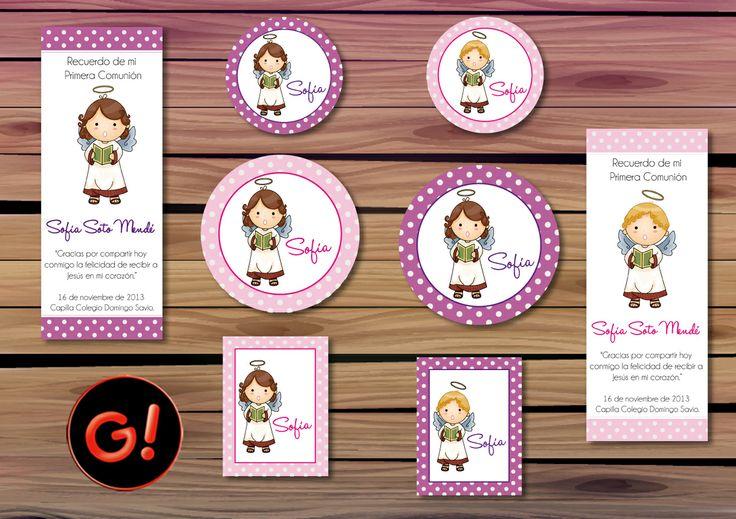 Diseño de Tarjetas Diseño de Stickers COMUNIÓN SOFIA