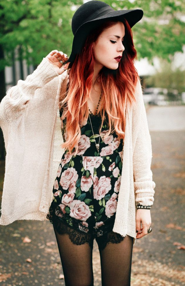 Supper blogger #LeHappy teams a dark floral #Missguided #Playsuit with a super slouchy knit for a fresh look.