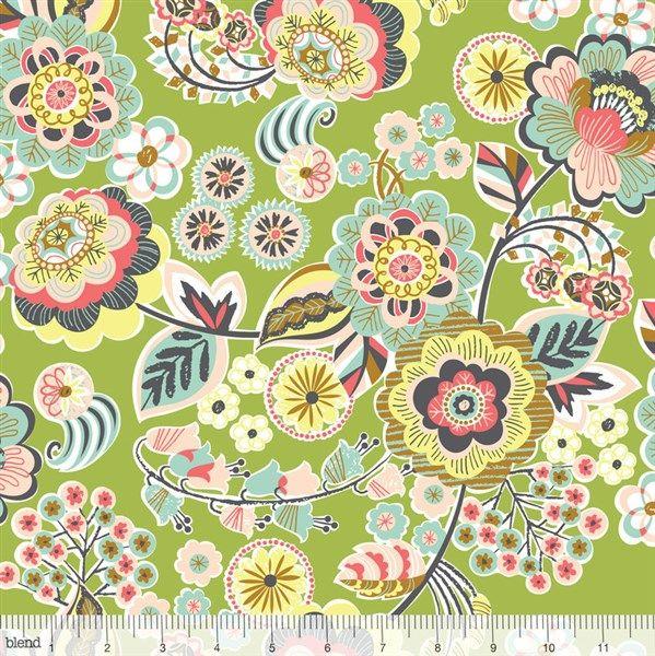 Tela de patchwork americano Flores Verdes