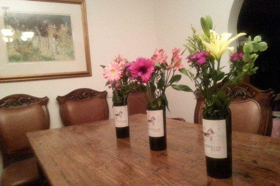 Wine Bottle Vase / Upcycled Wine Bottle / by LookingSharpCactus on Etsy $15.95