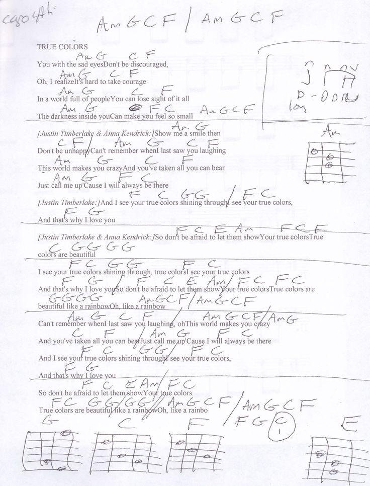 True Colors (Justin Timberlake) Guitar Chord Chart - Capo ... Justin Timberlake Youtube