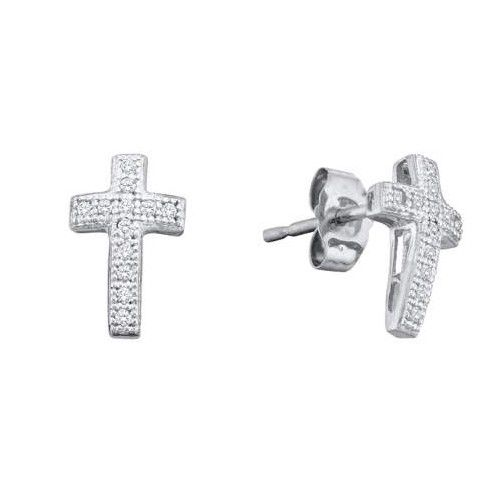 1/10CT-Diamond CROSS EARRINGS