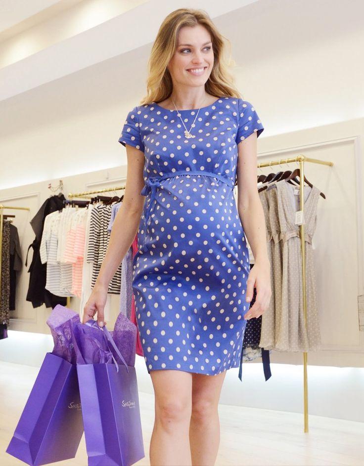 Baby Blue & White Polka Dot Maternity Dress