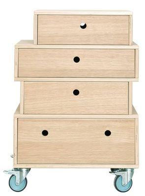 Meuble de rangement à roulettes - 4 tiroirs Chêne clair - House Doctor - Décoration et mobilier design avec Made in Design