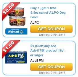 COUPONS.com $$ New Printable Coupons: Save $1/1 Advil PM, BOGO FREE Alpo Dog Food + More (10/23)!
