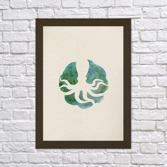 Meerdere 0003 octopus Poster A3 Sea Creatures serie badkamer