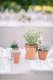 #wedding #budget friendly idea #utiliser des plantes en pots sur les tables, on utilise et réutilise dans son jardin après le Jour J