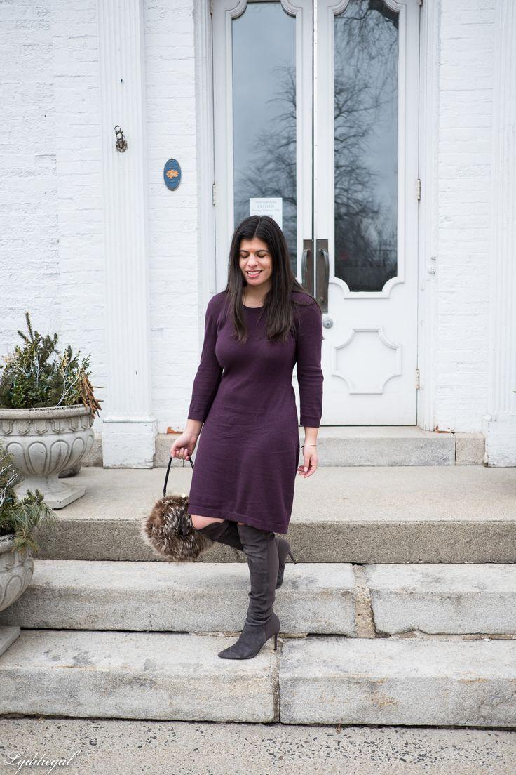 https://flic.kr/p/21Hz1Vb | burgundy sweater dress, over the knee boots.jpg