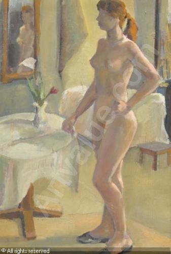 MODESPACHER Theo (Theobald) - Weiblicher Akt vor einem Spiegel