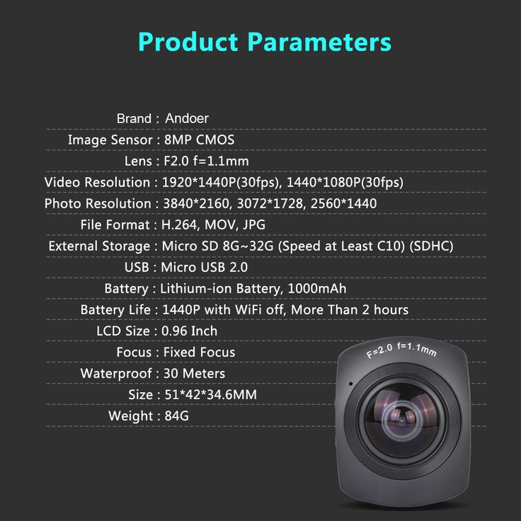 Only US$139.99, black Andoer Panorama 360° VR Video Camera Full HD 1440P 1080P 30FPS - Tomtop.com