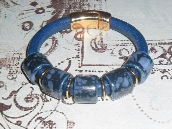 Натуральный, кожаный браслет.