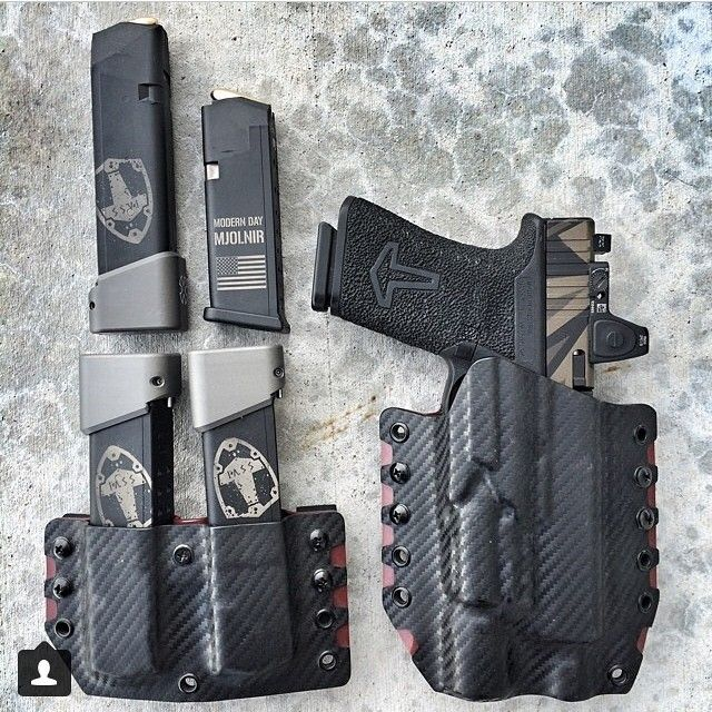 @ssvi_llc's setup. Pictured is the highly recommended @otghex Nocturnal Sidewinder kydex holster and dual mag holster. @leoarmory did the work on the mags, which are fitted with...