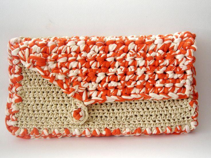 Crochet Fabric Beige orange Clutch Bag handmade for her | Flickr ...