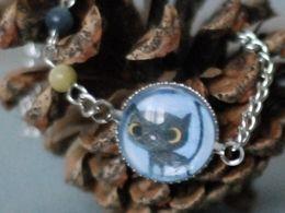 TITIRI Handmade bracelet with a custom drawing under the glass cabochon- a black cat (aquarell pencils)