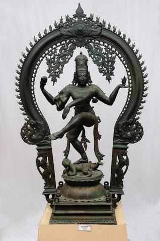 "source: The Hindu HYDERABAD:ANDHRA PRADESH Bronze Nataraja, Vijayanagara Period, 14th C. This is the Lord of Dance. His gestures and attributes represent three phases - creation, sustenance and destruction. His movements are rhythmic, his poise perfect..,"" the guide tries to attract the attention of the visitors to Nataraja, a finely modelled bronze item prominently shown at the Salarjung Museum's South Indian bronzes section."