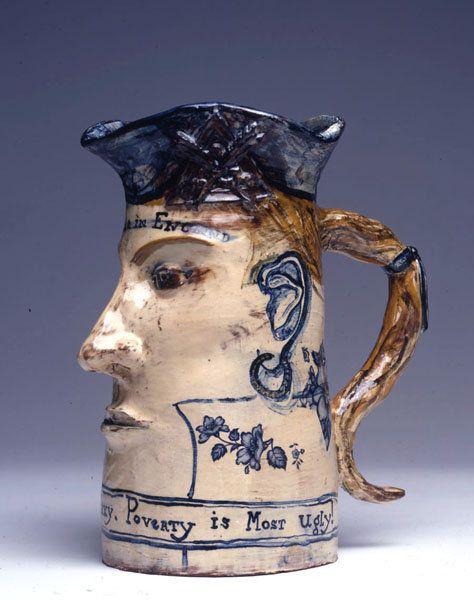Untitled (True blue) (1980-89) by British artist Grayson Perry (b.1960). Ceramic jug, 22 x 17.8 cm. via Leicester Galleries