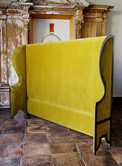 Velvet High Wing Back headboard from casamidy.com. What an amazing headboard for a bedroom!