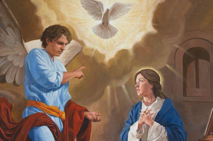 Annunciation (detail)/ Anunciación (detalle) // 2012 // Raúl Berzosa // Capilla de Nuestra Señora de Guadalupe en Fargo (Dakota del Norte, Estados Unidos) // North Dakota, USA // #HolySpirit #VirginMary #ArchangelGabriel