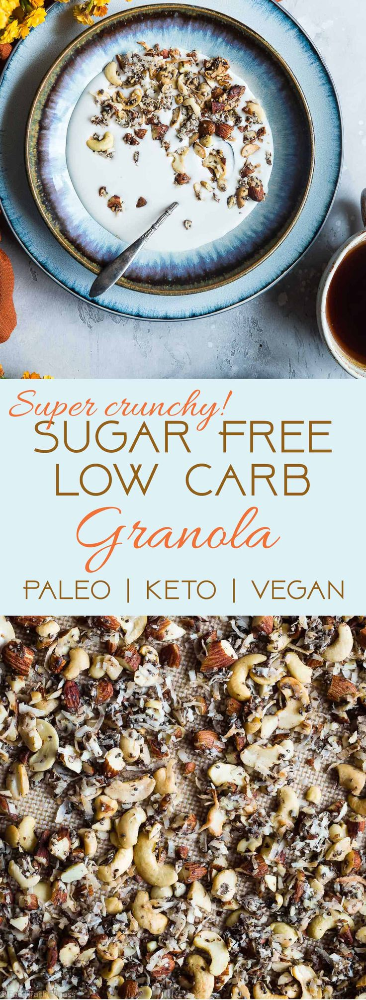 Coconut Cashew Low Carb Keto Granola – SO crispy and crunchy that you'll never …