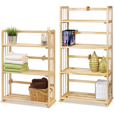 Furinno Pine Solid Wood 4-Tier and 3-Tier Bookshelves Set, Natural Wood, Fncl-Pine, Beige