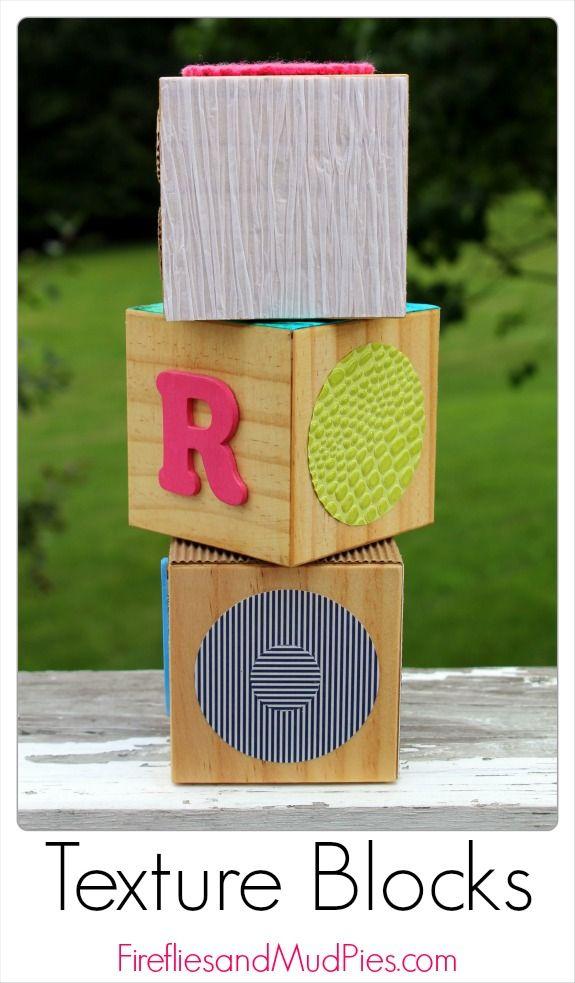 DIY Texture Blocks for sensory play! #firefliesandmudpies
