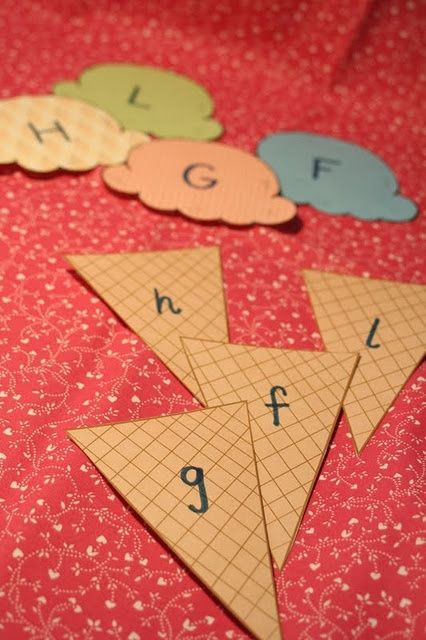 Matching Letters Match uppercase with lowercase letters with cute ice cream cones.