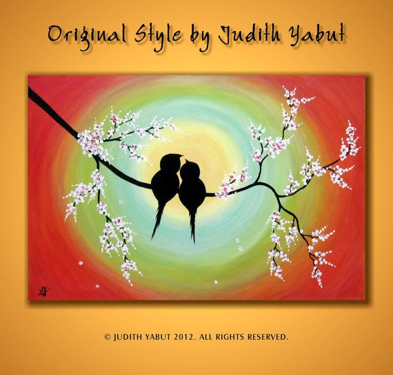 LOVE BIRDS Painting Large canvas Ready to Hang by studiox26, $195.00
