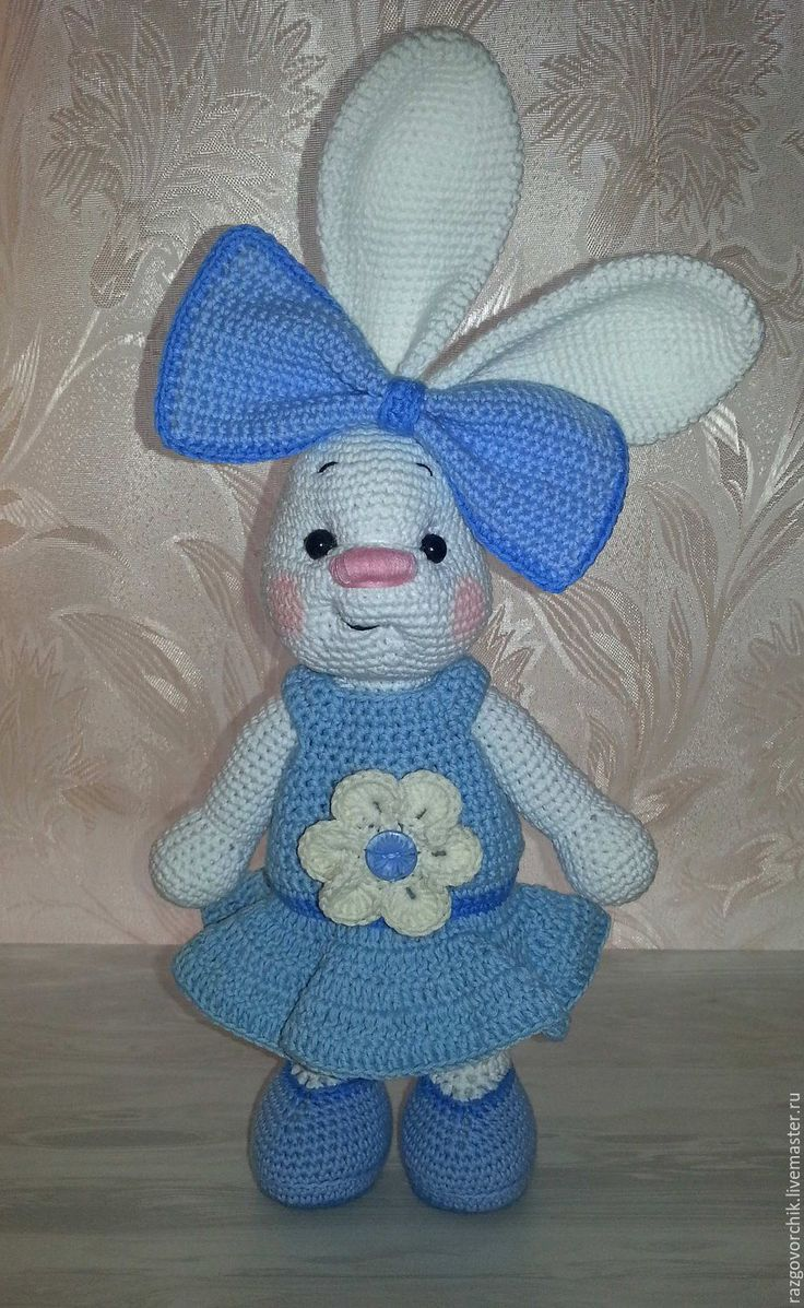 Купить Зайка с бантом - комбинированный, зайка, зайка девочка, зайка игрушка, зайка в платье