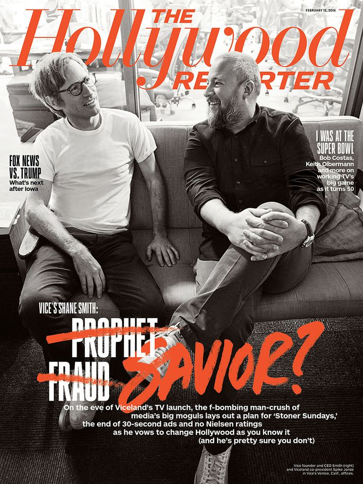 Vice founder and CEO Smith and Viceland co-president Spike Jonze, photo by Joe Pugliese & cover typography by Justin Page   THR's Feb. 12, 2016 Issue